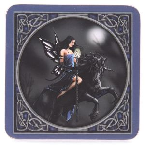 Coasters~Gothic Mystical Blue Fairy Riding a Unicorn Coasters~Fair Trade by Folio Gothic Hippy~KP01
